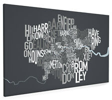 London Boroughs Typography Map Box Canvas and Poster Print (257)