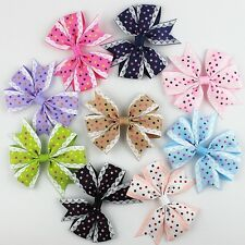 50pcs/lot Girls Baby Dot Bow Hair Aligator Clip Grosgrain Ribbon Bowknot Hairpin
