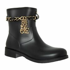 LOVE MOSCHINO Womens Black Ankle Rain Boots Wellies with Chain sizes UK 4 5