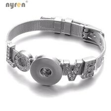 Stainless Steel Love Charms Bracelet 18mm Snap Button Jewelry For Snaps Jewelry