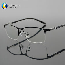 Business Men's Titanium Alloy Half Rimless Eyeglasses Frames Opitcal RX Able