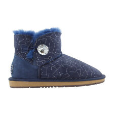 Ugg Boots Sheepskin Crystal Button Ankle Boot  - AUZLAND BAMBI Blue Ladies Size