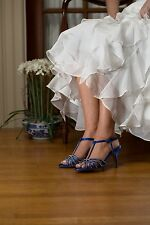 Dyeables Lexi Royal Blue, Crystal Encrusted Strappy Sandal, Bridal Shoe, Heels
