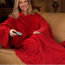 Snuggle Wrap Fleece Blanket With Sleeves Summer Quilt Soft Cool Robe Cloak USA