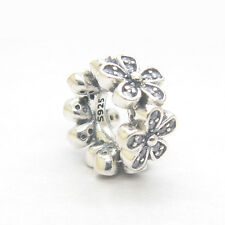 Genuine S925 Sterling Silver Dazzling Daisies Clear CZ Spacer Bead Charm