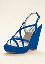 Dyeables Dee Wedge in David's Bridal Horizon, Blue Wedge, Bridal Shoes