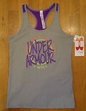 NWT UNDER ARMOUR VICTORY TANK TOP FITTED GRAY GIRLS SMALL MEDIUM