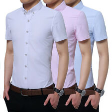 New Mens Clothing Cotton Business Shirt Short Sleeve Slim Fit Solid Dress Shirts