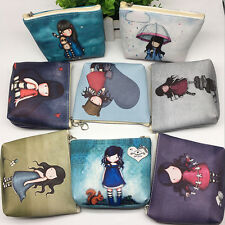 Lovely Pretty Girl Design PU Leather Zipper Coin Bag Change Wallet Purse Pouch