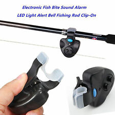 Black Electronic LED Light Fish Bite Sound Alarm Bell Clip On Fishing Rod New~BE