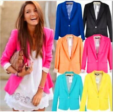 NEW Women CANDY Color Blazer Jacket Suit OFFICE LADY Casual Long Sleeve USA