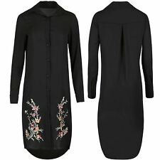 Ladies Womens Button Down Floral Rose Embroidery Collared Hi Lo Long Shirt Dress
