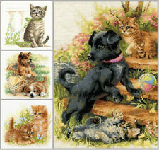 NEW UNOPENED Counted Cross Stitch KIT Riolis Puppy Kitten Cat Dog Meow!