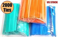 "2000 Twist Ties 4"" Length Plastic Coated No Rip Paper Ties Cello General Use"