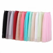 Womens High Waist Long Skirt Elastic Waist Sun Fluffy Tutu Skirt