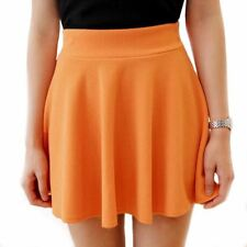 Women Skirts High Waist Pleated Skirt Vintage Ladies Solid Color Skater Skirt