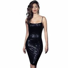 Womens Backless Sequins Strap Dress Fashion Bodycon Pencil Party Dresses