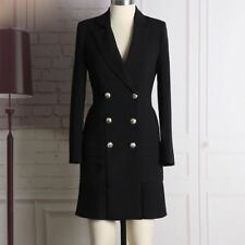 Women Fashion Long Sleeve Notched Collar Double Breasted Buttons Dress