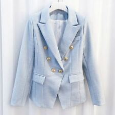 Women's Breasted Color Gold Metal Lion Buttons Double Blazer Jacket