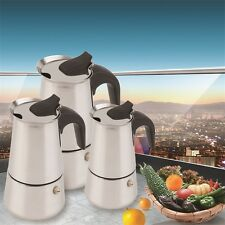 2/4/6-Cup Percolator Stove Top Coffee Maker Moka Espresso Latte Stainless Pot BR
