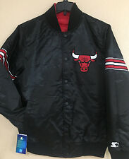 Chicago BULLS Men Reversible STARTER Satin Jacket-Black & Red Reversible Jacket