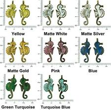 8pcs Czech Patina Antique Bronze Tone Large Seahorse Marine Animal Sea Charms Pe