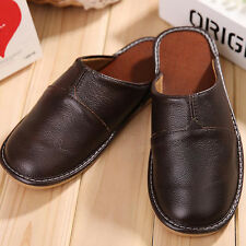 Mens Shoes Genuine Leather Closed Toe Comfortable Indoor House Slippers for Man