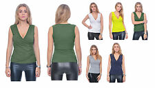 MARYCRAFTS WOMENS CASUAL SLEEVELESS RUCHED V NECK WRAP TOP SHIRT