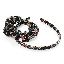 New Womens Two Piece Floral Print Headband and Scrunchie Hair Accessories
