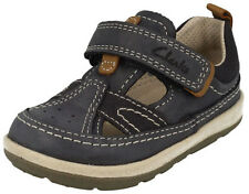 Clarks SOFTLY LUKE Boys Navy Leather Closed Toe First Sandals UK 3 - 6.5 F G Fit