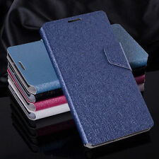 Luxury PU Leather Silk Grain Flip Wallet Case Cover For Alcatel Various Models