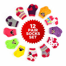Disney Minnie Mouse 12 Pair Assorted Color Socks Set, Baby Girls, Age 0-24M