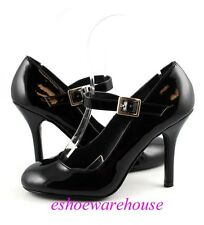 Black Patent Awesome Cutie Mary Jane Round Toe Stiletto Pumps Heels