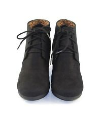 Black Faux Suede Comfy Cutie Desert Style Low Wedge Ankle Boots Botties