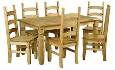 Dining Table With 6 Chairs Set In Solid Waxed Light Pine