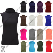 Womens Ladies Polo Neck High Roll Turtle Neck SleeveLess Top Jumper