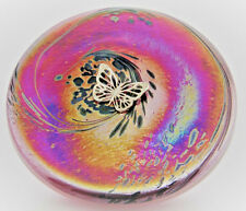 Neo Art Glass disk paperweight sterling silver dragonfly,fairy,frog,by K.Heaton