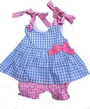 Baby Girls Blue Gingham Check Sundress & Panty Set NWT Babeeni Infant Toddler