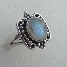 Solid 925 Sterling Silver Natural Rainbow Moonstone New Jewelry Ring US-4 to 13