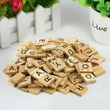 100pc Wooden Alphabet for Scrabble Tiles Black Letters&Numbers For Crafts WoodBA