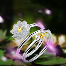 Simple Lotus Flower Charming Finger Rings Women Wonderful Wedding Jewelry BA