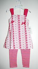 ABS Kids Toddler Girls 2pc Pink Eyelet Slvls Blouse w/ Striped Leggings Set, 4T