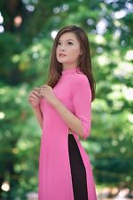 Bubblegum Double Layers Vietnam Ao Dai Custom Made, Chiffon Dress and Satin Pant