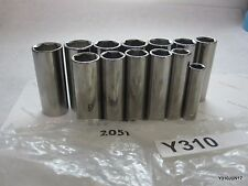 """Lot of 13 Craftsman Deep 6 Pt 3/8"""" Dr Sockets Made in the USA 13-19mm, 3/8-3/4''"""