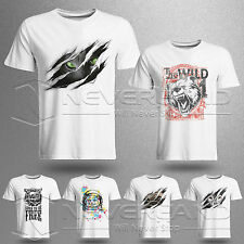 Fashion 3D Animals Printed Mens Casual Fit Cotton Short Sleeve T-Shirt Tee White