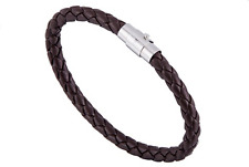 Mens Black & Brown Braided PU Leather Wristband Bracelets Bangle Magnetic Clasp