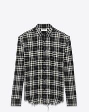 SAINT LAURENT 850$ Authentic New Oversized Black & White Plaid Cotton Shirt