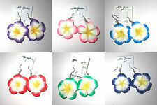 POLYMER CLAY  EARRING  PLUMERIA  COLLECTIBLES FASHION CUTE  LADY GIRL WOMEN GIFT