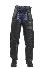 Motorcycle Leather Braided Biker Chaps Removable Liner Black New -Free Shipping