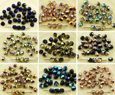 40pcs Metallic Half Czech Glass Round Faceted Fire Polished Beads 6mm